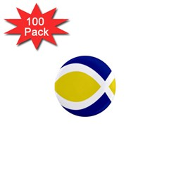 Flag Blue Yellow White 1  Mini Magnets (100 pack)