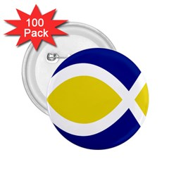 Flag Blue Yellow White 2.25  Buttons (100 pack)