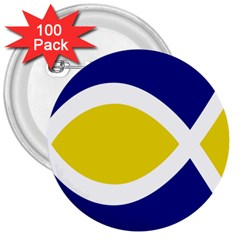 Flag Blue Yellow White 3  Buttons (100 pack)