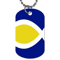 Flag Blue Yellow White Dog Tag (One Side)