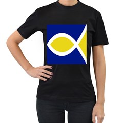 Flag Blue Yellow White Women s T-Shirt (Black) (Two Sided)