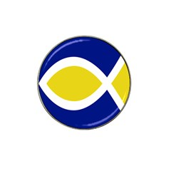 Flag Blue Yellow White Hat Clip Ball Marker