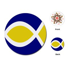 Flag Blue Yellow White Playing Cards (Round)