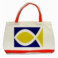 Flag Blue Yellow White Classic Tote Bag (Red)