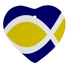 Flag Blue Yellow White Heart Ornament (Two Sides)