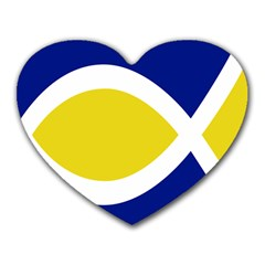 Flag Blue Yellow White Heart Mousepads