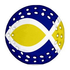 Flag Blue Yellow White Ornament (Round Filigree)