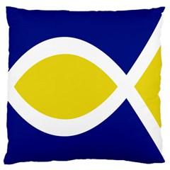 Flag Blue Yellow White Large Cushion Case (One Side)