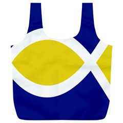 Flag Blue Yellow White Full Print Recycle Bags (L)
