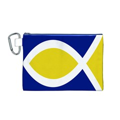 Flag Blue Yellow White Canvas Cosmetic Bag (M)