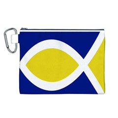 Flag Blue Yellow White Canvas Cosmetic Bag (L)