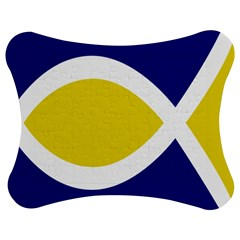 Flag Blue Yellow White Jigsaw Puzzle Photo Stand (Bow)