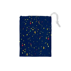 Christmas Sky Happy Drawstring Pouches (Small)