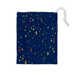 Christmas Sky Happy Drawstring Pouches (Large)
