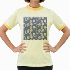 Circle Blue Line Grey Women s Fitted Ringer T-Shirts