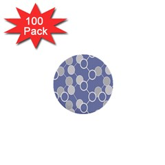 Circle Blue Line Grey 1  Mini Buttons (100 pack)