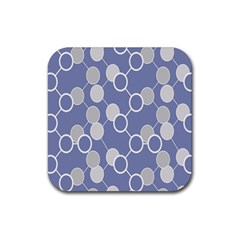 Circle Blue Line Grey Rubber Coaster (Square)