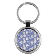 Circle Blue Line Grey Key Chains (Round)