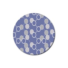 Circle Blue Line Grey Rubber Round Coaster (4 pack)