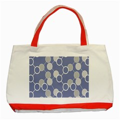 Circle Blue Line Grey Classic Tote Bag (Red)
