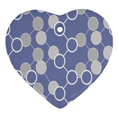 Circle Blue Line Grey Heart Ornament (Two Sides)