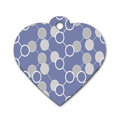 Circle Blue Line Grey Dog Tag Heart (Two Sides)