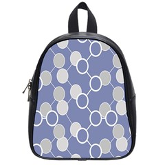 Circle Blue Line Grey School Bags (Small)