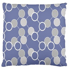 Circle Blue Line Grey Large Cushion Case (Two Sides)