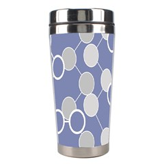 Circle Blue Line Grey Stainless Steel Travel Tumblers