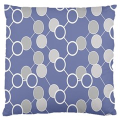 Circle Blue Line Grey Large Flano Cushion Case (two Sides)