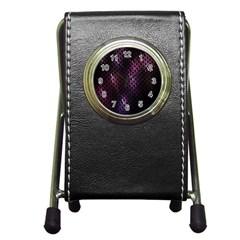 Fabulous Purple Pattern Wallpaper Pen Holder Desk Clocks