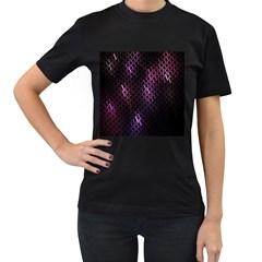 Fabulous Purple Pattern Wallpaper Women s T-Shirt (Black) (Two Sided)