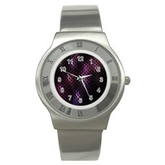 Fabulous Purple Pattern Wallpaper Stainless Steel Watch