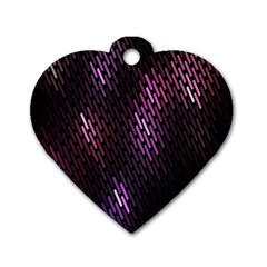 Fabulous Purple Pattern Wallpaper Dog Tag Heart (Two Sides)