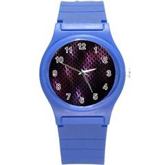 Fabulous Purple Pattern Wallpaper Round Plastic Sport Watch (S)