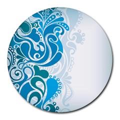 Garphic Leaf Flower Blue Round Mousepads