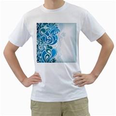 Garphic Leaf Flower Blue Men s T-Shirt (White) (Two Sided)