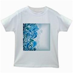 Garphic Leaf Flower Blue Kids White T-Shirts
