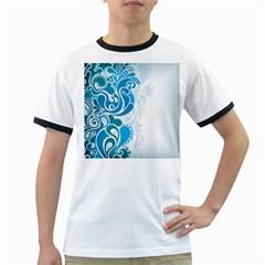 Garphic Leaf Flower Blue Ringer T-Shirts