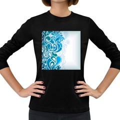 Garphic Leaf Flower Blue Women s Long Sleeve Dark T-Shirts