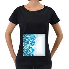 Garphic Leaf Flower Blue Women s Loose-Fit T-Shirt (Black)
