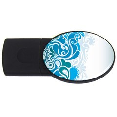 Garphic Leaf Flower Blue USB Flash Drive Oval (4 GB)
