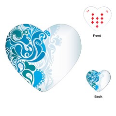 Garphic Leaf Flower Blue Playing Cards (Heart)