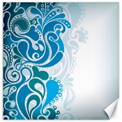 Garphic Leaf Flower Blue Canvas 12  x 12