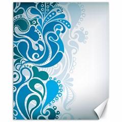 Garphic Leaf Flower Blue Canvas 11  x 14