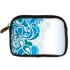 Garphic Leaf Flower Blue Digital Camera Cases