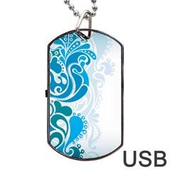 Garphic Leaf Flower Blue Dog Tag USB Flash (One Side)