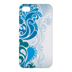 Garphic Leaf Flower Blue Apple iPhone 4/4S Premium Hardshell Case