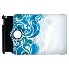 Garphic Leaf Flower Blue Apple iPad 3/4 Flip 360 Case