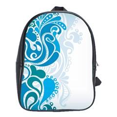 Garphic Leaf Flower Blue School Bags (XL)